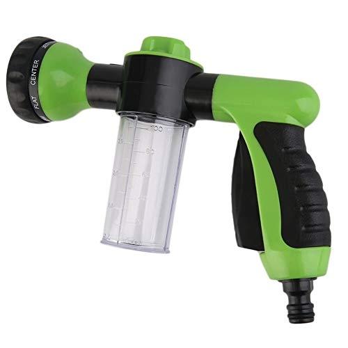 TRIXES Spritzpistole zur Befestigung am Gartenschlauch mit Sprühkopf und Vorratsbehälter für Seife/Dünger etc.