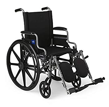 Medline - MDS806550E Lightweight & User-Friendly Wheelchair With Flip-Back Desk-Length Arms & Elevating Leg Rests for Extra Comfort Black 18  Seat