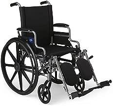 Medline - MDS806550E Lightweight & User-Friendly Wheelchair With Flip-Back, Desk-Length Arms & Elevating Leg Rests for Extra Comfort, Black, 18
