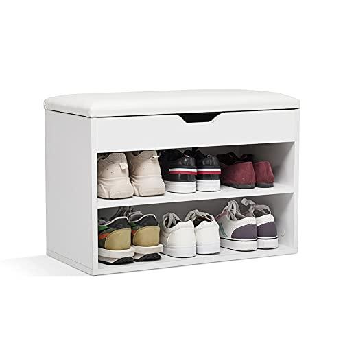 Meerveil Schuhbank, Schuhbank mit Sitzfläche aus Holz, 60 x 30 x 43 cm Schuhregal mit Sitzbank für 8 Paar Schuhe, Weiß
