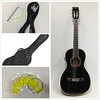 Caraya Parlor Guitar Ebony Parlor-590 with EQ + Free Gig Bag, Extra String Set