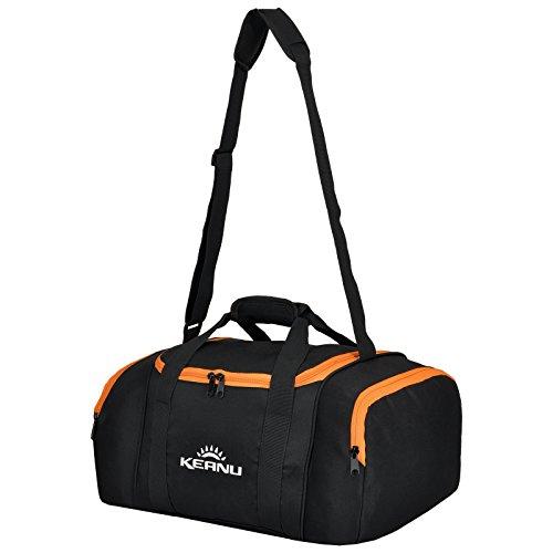 KEANU Praktische Sporttasche 43 Liter :: faltbar, Wäschefach, Wertfach Fitness Yoga Sauna :: Grosse multifunktionale Tasche für Gym Sport Reise Wellness :: Reisetasche Small (Neon Orange)