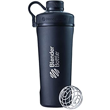 BlenderBottle Radian Shaker Cup Insulated Stainless Steel Water Bottle with Wire Whisk 26-Ounce Matte Black