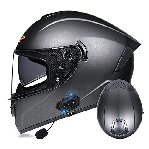 LIRONGXILY Casco Moto Modular Casco Integral Casco Moto Bluetooth Integrado Casco Modular Casco Moto Jet con Doble Visera para Hombre O Mujer ECE Homologado (Color : #3, Size : 61-62cm(XL))