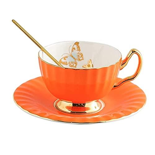 Latte Art Cup 200ml Hueso China Taza de café y platillo conjunto, taza de café de la lámina de oro de la mariposa y platillo, taza de té de la taza de té de la tarde inglesa, la mejor taza para su té