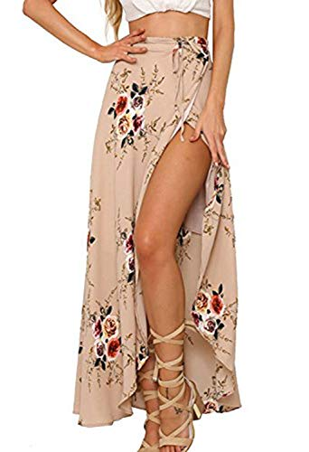 Yonala Womens Boho Floral Tie Up Waist Summer Beach Wrap Cover Up Maxi Skirt Apricot Small