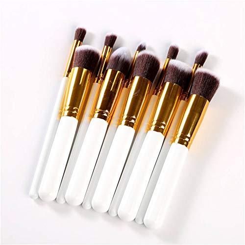 KDBHM Pinceau de Maquillage 10 Pcs Make Up Brush Set Or Rose Brosse De Maquillage Multipurpose Profession Foundation Poudre Mélange Pinceau Cosmétique,Beige