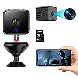 Mini cámara FHD 1080P portátil pequeña WiFi compacta cámara de vigilancia con tarjeta SD de 32 G con batería de...