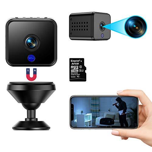 Mini cámara FHD 1080P portátil pequeña WiFi compacta cámara de vigilancia con tarjeta SD de 32 G con batería de larga duración, detección de movimiento y función de visión nocturna por infrarrojos