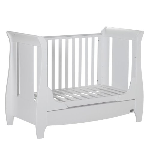 Tutti Bambini Katie Space Saver Sleigh Cot Bed with Under Bed Drawer - 120 X 60cm Converts to Junior/Toddler Bed (White) 3 Positions
