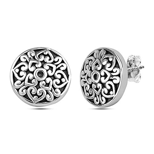 LeCalla Sterling Silver Jewelry Light Weight Antique Round Filigree Cut Stud Earrings for Women