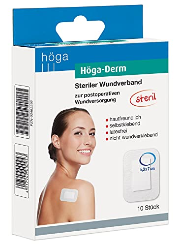 Höga Derm, steriler Wundverband, hautfreundlich, latexfrei und selbstklebend, 53 x 70 mm, 10 Stück, gebrauchsfertiges Pflaster, 2er-Pack