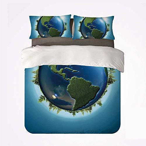 Miwaimao Planeta Tierra Cubierto de Mares Azules y bosques continentes árboles vegetación Naturaleza,Juego de Ropa de Cama con Funda nórdica de Microfibra y 2 Funda de Almohada - 220 x 240 cm