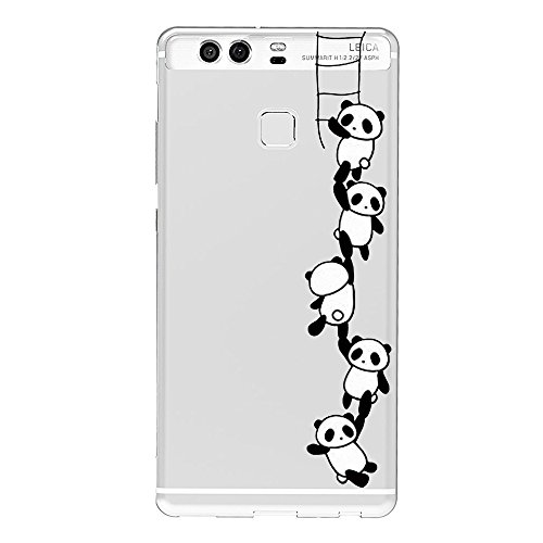 Vanki® Compatibile con Huawei P9 Custodia, Huawei P9 Modello in Bianco e Nero Morbido TPU Custodia Cover Cristallo limpido Trasparente Slim Anti Scivolo Protezione Posteriore Cover Antiurto (color1)