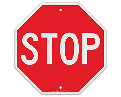 Stop Sign, Street Slow Warning Reflective Signs, 12 x 12 Inches Octagon.040 Rust Free Aluminum, UV Protected and Waterproof, Weather Resistant, Durable Ink, Easy to Mount