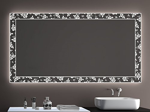 SARAR Badspiegel LD409 Exklusiv mit Laser Gravur Technik A++ LED Beleuchtung - (B) 70 cm x (H) 60 cm - Made in Germany - Badezimmerspiegel Lichtspiegel Spiegel Beleuchtet
