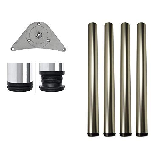 MKGT - Juego de 4 barras de altura ajustable para encimera, mesa de cocina 710 820 870 1100 mm con placa de montaje y tornillos