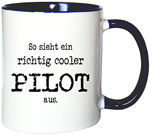Mister Merchandise Kaffeetasse Becher So Sieht EIN richtig Cooler Pilot aus, Farbe: Weiß-Blau