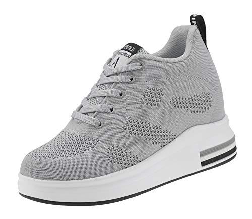 AONEGOLD® Zapatillas de Deporte Transpirables Zapatillas de Cuña para Mujer Alta Talón Plataforma 8cm Sneakers(Gris,34 EU)