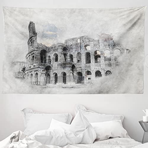 ABAKUHAUS Skizzenhaft Wandteppich & Tagesdecke, Colosseum Rom Sketch, aus Weiches Mikrofaser Stoff Wand Dekoration Für Schlafzimmer, 230 x 140 cm, beige Schwarz
