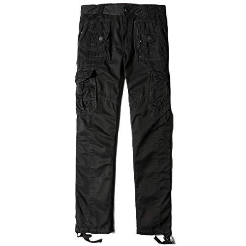 Pantalones de lona para hombre Pantalones de carga con múltiples bolsillos duraderos, de corte recto, lavados, resistentes al desgaste, ropa de trabajo de almacén, pantalones de trabajo al aire 36