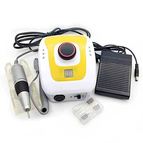ZYC Nagelbohrer Maniküre Maschine Set für Nagel Pediküre Maschine Fingernagelbohrer 300-35000 RPM Elektrische Ausrüstung Maniküre Werkzeuge,Yellow
