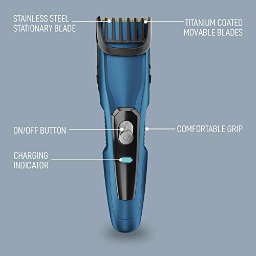 SYSKA HT1250 BeardPro Corded & Cordless Trimmer with Fast Charge; 90 Min Runtime; 20 Length Settings (Blue)