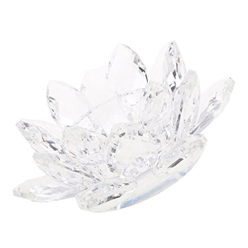 F Fityle Kristallglas Lotus Blume Teelichthalter Buddhistischer Kerzenhalter Haus Büro Tischdekor - Weiß
