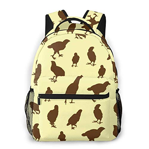 Lawenp Fashion Unisex Backpack Hen Background Pattern Bookbag Lightweight Laptop Bag for School Travel Outdoor Camping