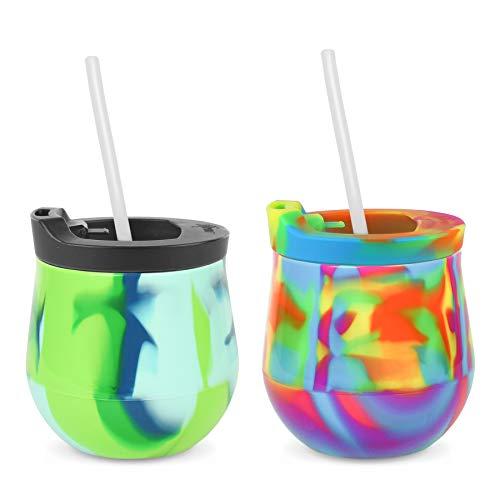 Silipint Silicone Unbreakable Wine Glass 2-Pack Tumblers with Lids and Straws. Reusable &...