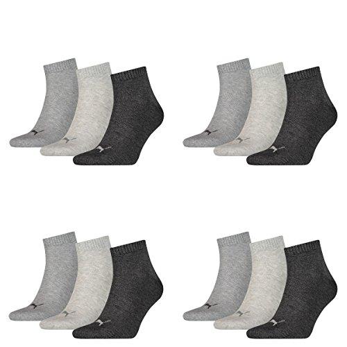 Puma 12 Paar Unisex Quarter Socken Sneaker Gr. 35-49 für Damen Herren Füßlinge, Farbe:800 - anthraci/l mel grey/m me, Socken und Strümpfe:47-49