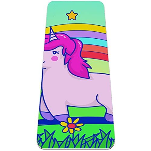 nakw88 Clever Unicorn - Esterilla de yoga antideslizante gruesa para ejercicios y ejercicios de fitness para yoga, pilates y ejercicios de piso (183 x 60 x 6 mm) para mujeres y niñas