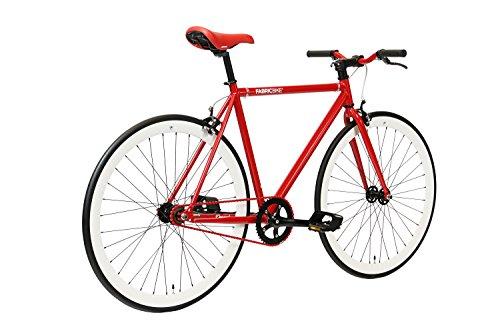 FabricBike-Fixie Bike, Single Speed Fahrrad, Fixed Gear, red Hi-Ten Steel Frame, 10kg (Red & White, M-53) - 3