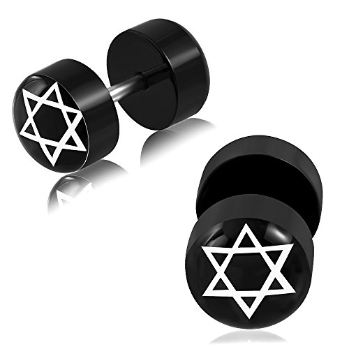Emeco 1 par de pendientes dilatadores falsos de oreja Star of David Rockabilly CBY093