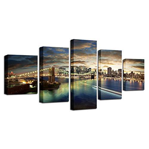 AQNY Moderne decoratie canvas module 5 banken nachtscène lijst abstracte print schilderij woonkamer kunst wandafbeelding