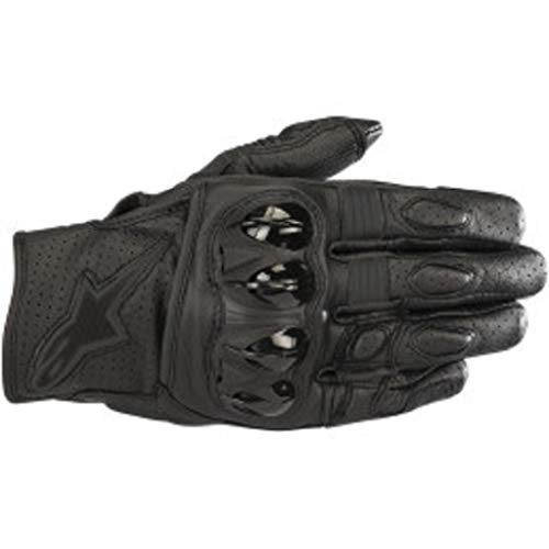 Alpinestars Men's Celer v2 Leather Motorcycle Short-Cuff Glove, Black/Black, Large