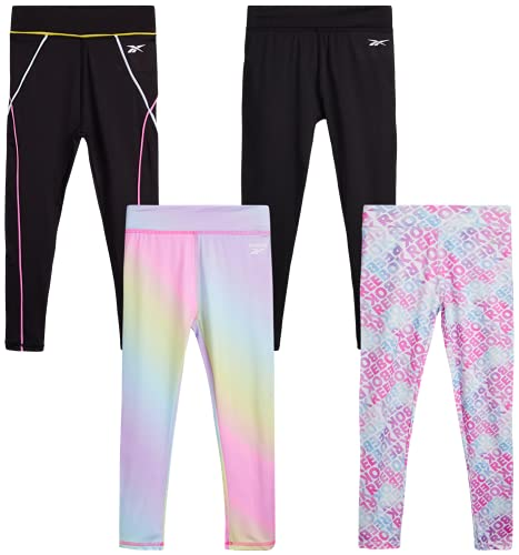 Reebok Girls? Active Solid Color Legging Pants with Mesh Side Pocket (4 Pack), Size 6X, Rainbow Tie-Dye/Black