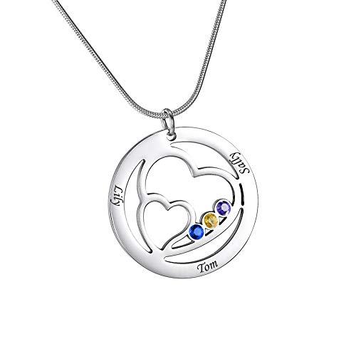 HooAMI Personalisierte Kette Herzform Namenskette~Mit Geburtsstein Familienkette Mit Gravur Halskette Mit 3 Wunschnamen