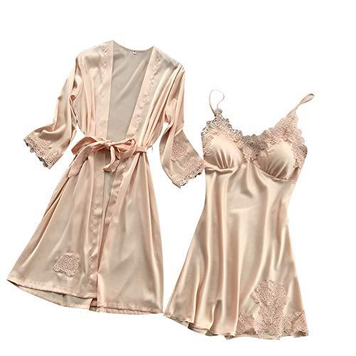 Lencería de Seda de Mujer Vestido de Bata de Encaje Babydoll camisón de Dormir Conjunto de Kimono Batas Vestidos de Dormir (Ropa)