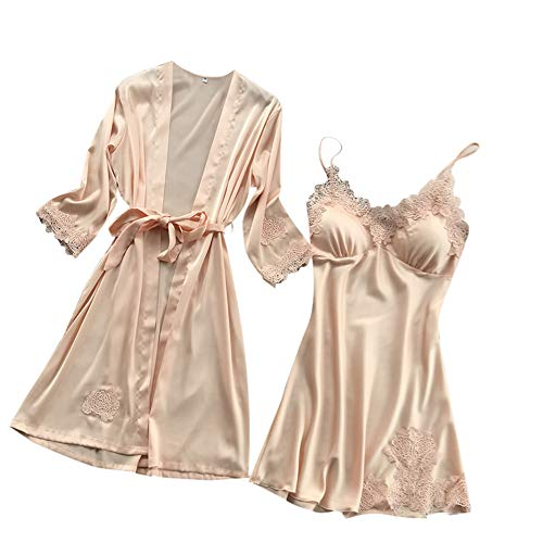 Dorical Damen 2pcs Dessous Die Seide Spitze Robe Kleid Puppe Nachthemd Nachtwäsche Kimono Einstellen Sexy Sling Nachthemd Nachtwäsche Seide Spitze Kleid Babydoll Nachthemd(Gelb,Medium)