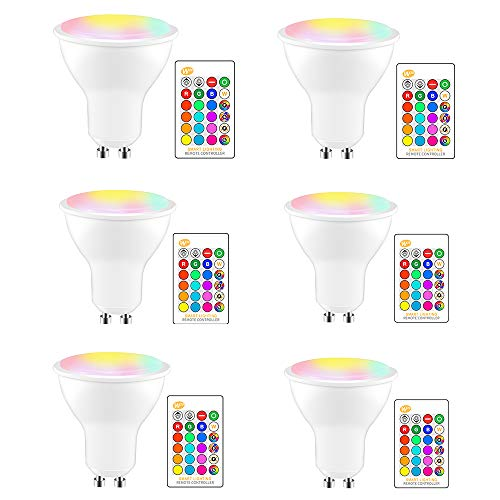Konesky LED-Leuchtmittel, 8 W, GU10, RGBW, Fernbedienung, Farbwechsel, 2700 K, Warmweiß, 120 ° Abstrahlwinkel, Energieeffizienzklasse A+, 6 Stück
