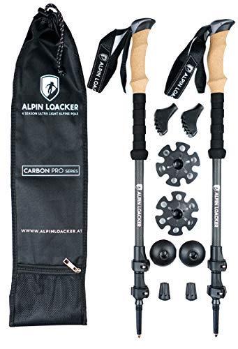 Alpin Loacker PRO Series Wanderstöcke | höhen-verstellbare Teleskop Stöcke mit Korkgriff inkl. Zubehör | aus stabilem, bruchfestem Carbon Material