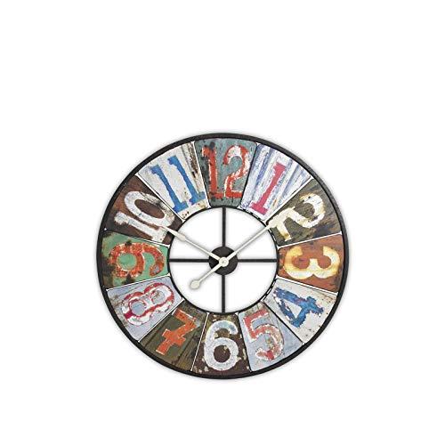 Horloge murale en bois et métal