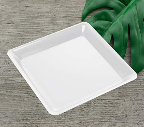 4 12 White Square Plastic Trays Heavy Duty Plastic Serving Tray 12 x 12 Unbreakable Serving Platters Food Tray Decorative Serving Trays Wedding Platter Party Trays Disposable Serving Party Platters