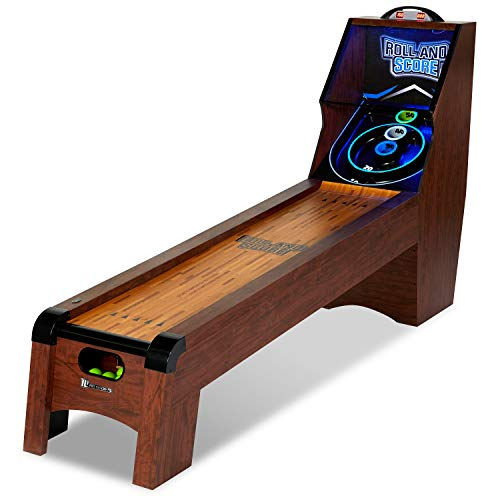 Ready AIM and Throw! Have Loads of Fun 9 Ft. Roll and Score Table, Arcade Game, Includes Electronic Board Scorer Great Sound Effects LED Light - Perfect for Family, Game Nights