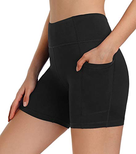 Ksmien Women's 5' / 8' High Waist Biker Workout Shorts - Spandex Yoga Running Compression Shorts Side Pockets