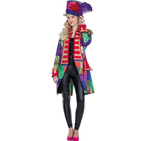 Mottoland Damen Patchwork Frack mit Zylinder bunt Fasching Jacke Hut Set Karneval Garde (40)
