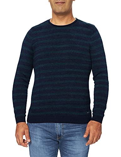 Pierre Cardin Herren Crewneck Bicolor Stripes Denim Academy Sweatshirt, Blau (Cruise 3260), Large (Herstellergröße: L)