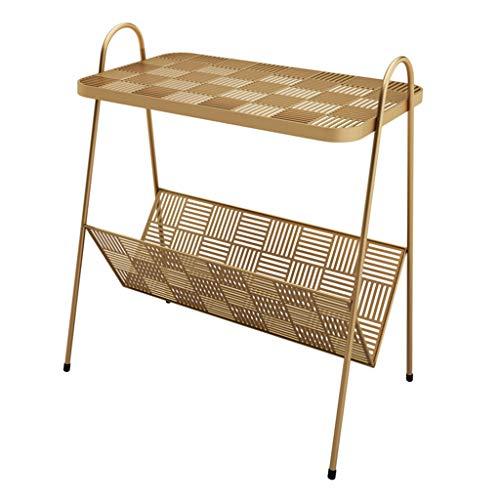 Mesas de café Mesa auxiliar para café, té, cóctel, sofá, cama, con marco de metal, para sala de estar, dormitorio, pasillo, revistas, color dorado y negro