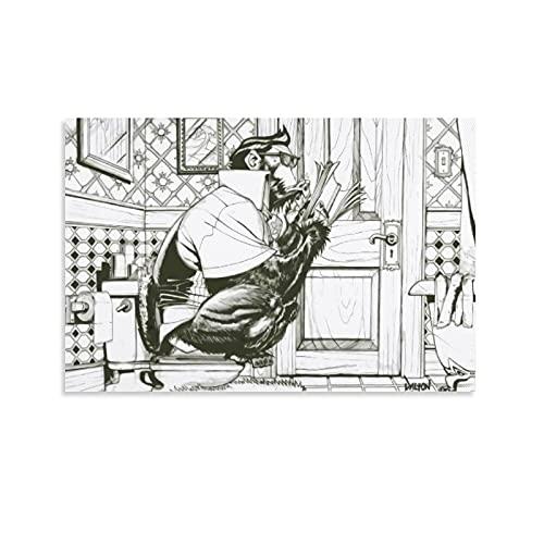 DRAGON VINES Gorilla On The Toilet - Póster abstracto divertido para decorar la sala de estar, 40 x 60 cm